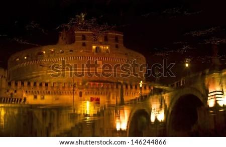 Night water reflection of Castel Sant'Angelo, Rome, Lazio, Italy - stock photo