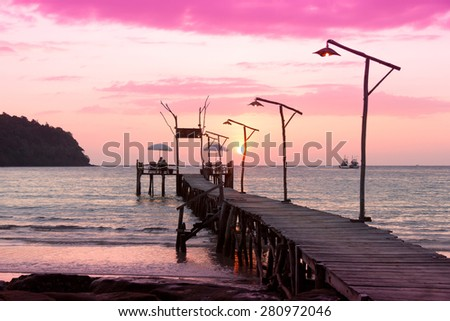 Nightfall by the Sea At the End of the Day  - stock photo