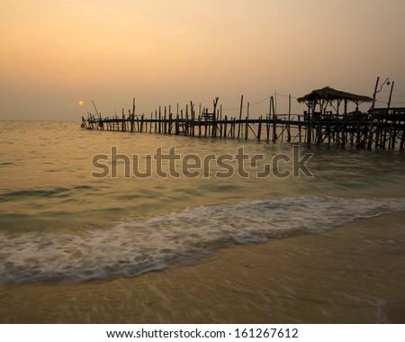 Nightfall by the Sea Sundown Serenity  - stock photo