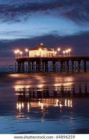 Nightfall Reflections Manhattan Beach Pier - stock photo
