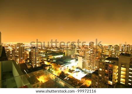 Nightly panorama of Santiago de Chile - stock photo