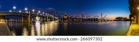 Nightly panorama of the Pont Saint-Pierre in Toulouse - stock photo