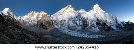 nightly view of Everest, Lhotse and Nuptse from Pumo Ri base camp - Way to Everest base camp - Nepal - stock photo