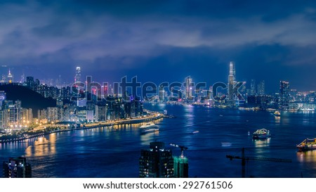Nightscape of Hongkong with Air Pollution  - stock photo