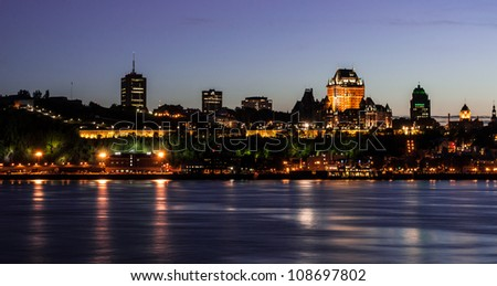 Nightscape of Quebec City, Canada - stock photo