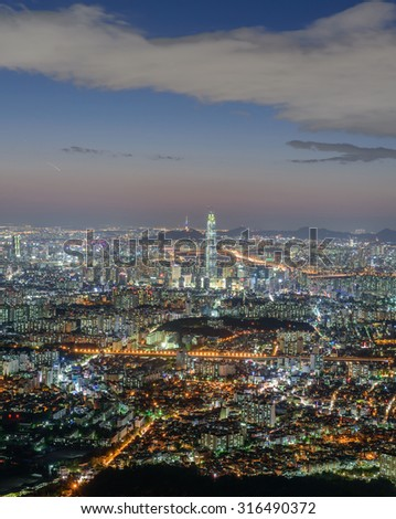 Nightscape of seoul viewed from Mt.Namhansansong