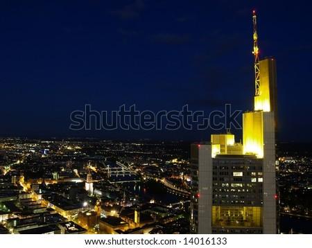 Nightscene of Frankfurt city - stock photo
