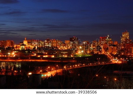 Nightshot of edmonton downtown, edmonton, alberta, canada - stock photo