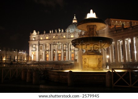 Nightshot of Saint Peter's Basilica with a fountain in front: tripod shot at 100 ISO beautiful and sharp - stock photo
