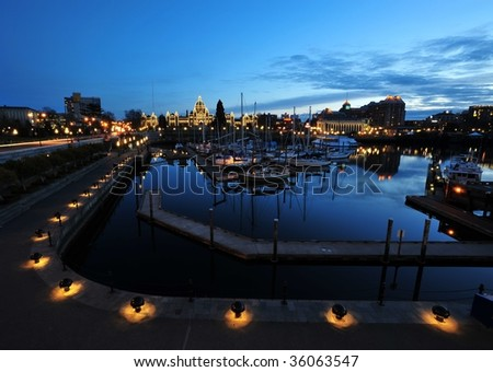 Nightshot of the inner harbor and the parliament building, downtown victoria, british columbia, canada - stock photo