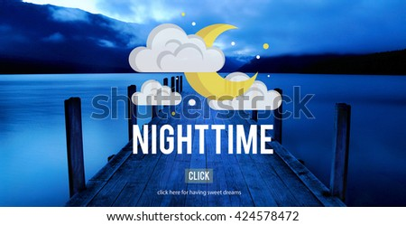 Nighttime Bright Moon Moonlight Tranquil Concept - stock photo