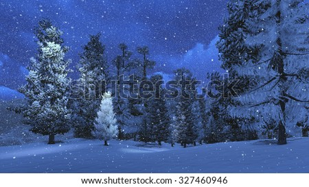 Nighttime winter scene with snowy pine forest high in mountains at snowfall. Realistic 3D illustration was done from my own 3D rendering file. - stock photo