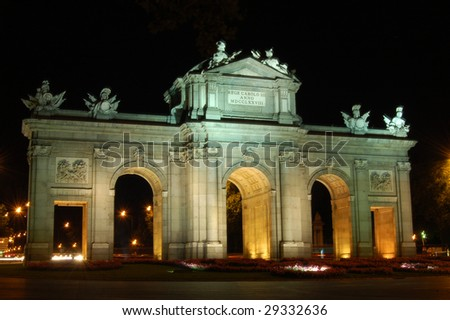 Nightview of Puerta de Alcala in Madrid, Spain - stock photo