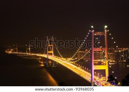 Nightview of Tsing Ma Bridge in Hong Kong - stock photo