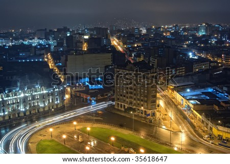 Nigth view on city center of Lima, Peru - stock photo