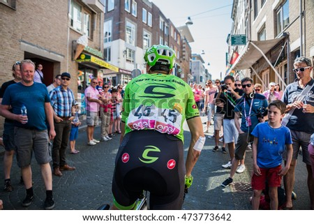 Nijmegen, Netherlands May 8, 2016; Davide Formolo professional cyclist during transfer from bus to the start of the third stage of the Giro d'Italy 2016 in Nijmegen