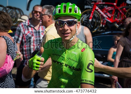 Nijmegen, Netherlands May 8, 2016; Davide Formolo professional cyclist smiling before the start of the third stage of the Giro d'Italy 2016 in Nijmegen