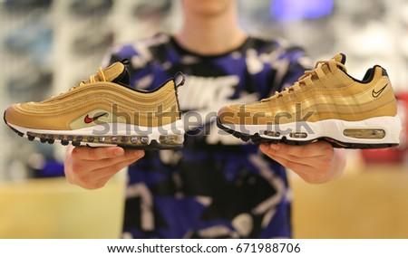 Nike store. Nike Air Max shoes in hands. Ukraine, Kiev - June 20, 2017