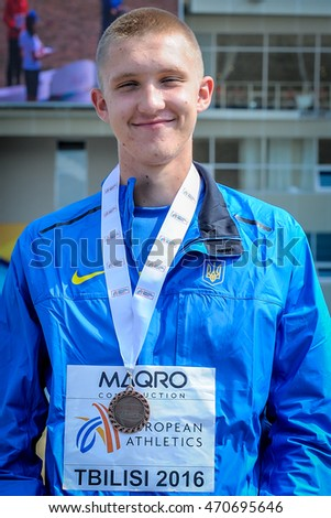 NIKITIN Dmytro during medal ceremony High Jump Boys at the European Athletics Youth Championships  in the Athletics Stadium, Tbilisi, Georgia, 16 July 2016