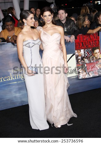 "Nikki Reed and Ashley Greene at the Los Angeles Premiere of ""The Twilight Saga: Breaking Dawn - Part 2"" held at the Nokia L.A. Live Theatre in Los Angeles, United States on November 12, 2012. - stock photo"
