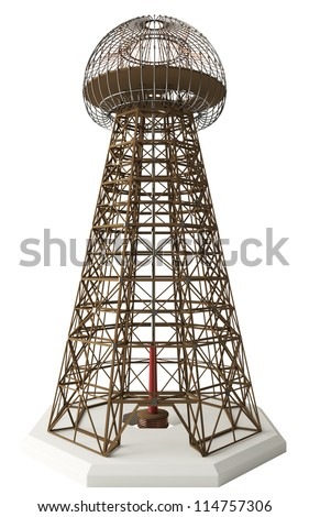 Nikola Tesla invention: Magnifying Transmitter. Also known as the Wardenclyffe Tower. Meant to produce wireless energy, but project abandoned due to expense and supposed lack of profitability. - stock photo