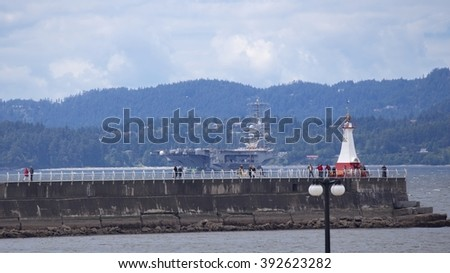 Nimitz-class aircraft carrier in Victoria, BC - stock photo