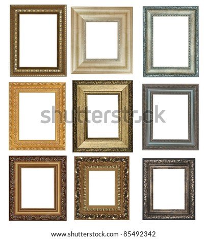 nine antique picture frames isolated on white high resolution