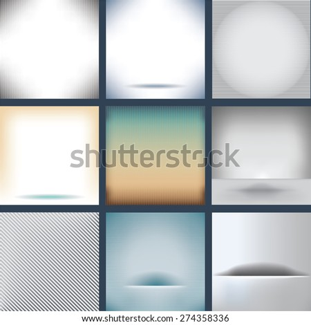 Nine Assorted Plain Backgrounds - stock photo