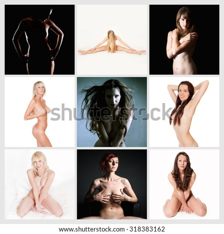 Nine attractive nude models, private parts are not visible - stock photo