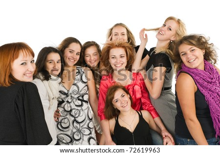 Nine Beautiful young women friends together at the studio