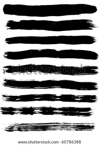 Nine black silhouettes of traces of brush isolated on white background - stock photo