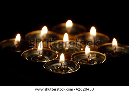 Nine candles. - stock photo