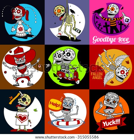 Nine characters skeletons in different situations. There are 4 variants of colors of the characters and backgrounds.