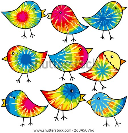 Nine colorful tie-dyed chicks for your designs - stock photo