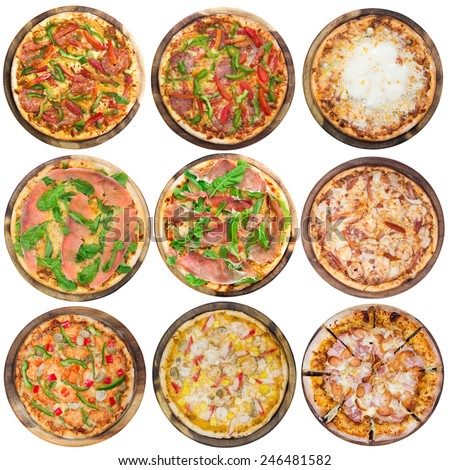 Nine different pizzas in one set, isolated on white, top view  - stock photo