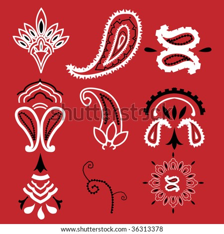 Nine elements commonly used for a bandanna. - stock photo