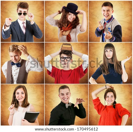 Nine emotional portraits diverse young people - stock photo