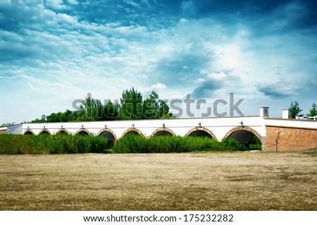 Nine-holed bridge, Hortobagy Hungary. - stock photo