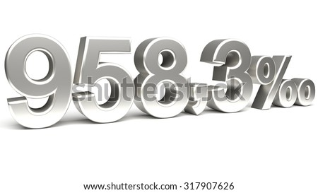 Nine hundred and fifty eight point three per mill 3D text, with big silver fonts isolated on white background. Rendered illustration.