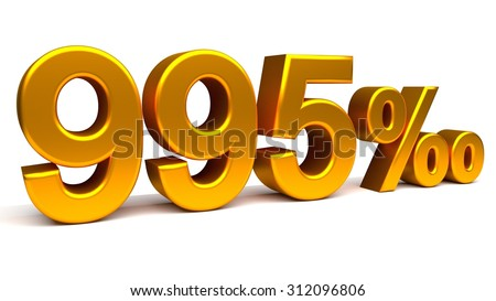 Nine hundred and ninety five per mill 3D text, with big golden fonts isolated on white background. Rendered illustration.