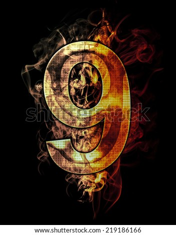 nine, illustration of  number with chrome effects and red fire on black background - stock photo