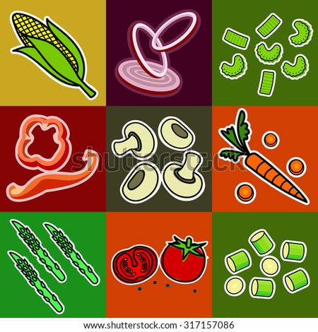 Nine images of different foods - ginger, spinach, parsley, celery, tomato, mushrooms, green onions, corn, asparagus, bell pepper, cucumber, green beans - stock photo