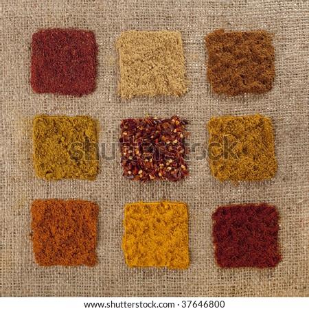 nine indian spice on hessian backdrop - tandoori masala, ginger, tikka masala, madras curry, chillies, hot curry, kabab masala, turmeric, paprika - stock photo