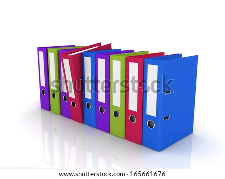 Nine multicolored folders on white plane. One of them is tilting - stock photo