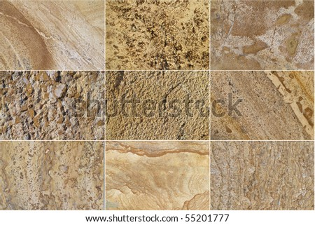 Nine Natural Limestone Background - stock photo