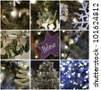 nine pictures in collage of christmas time and decorations - stock photo