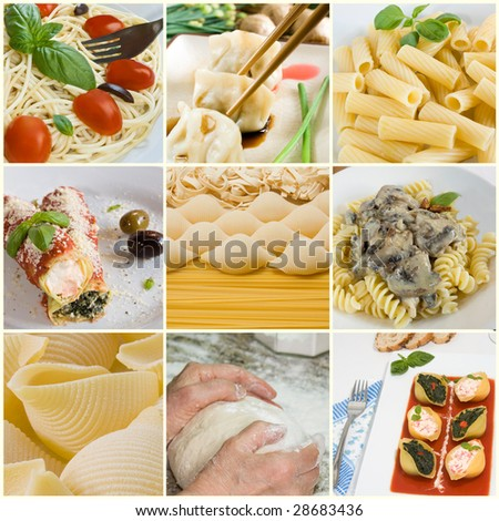 Nine pictures of pastas composed in a collage. - stock photo