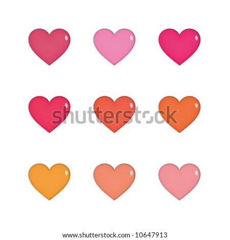Nine shiny hearts in pink, orange and red, isolated on white. - stock photo