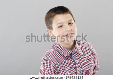 Nine years old boy - stock photo