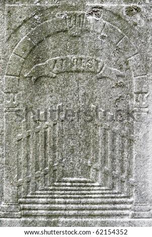 Nineteenth century gravestone detail gates of heaven ajar - stock photo